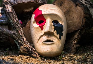 Cherokee art black and red mask 2